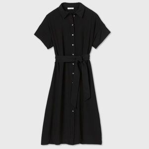 Short sleeve button-down dress with bow tie